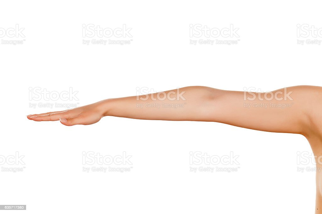 whole woman hand with the palm down on a white background stock photo