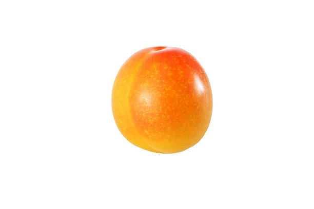 whole yellow plum isolated on white background with clipping path - mirabelle photos et images de collection