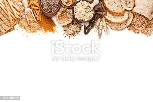 istock Wholegrain and dietary fiber food border on white background 844198938