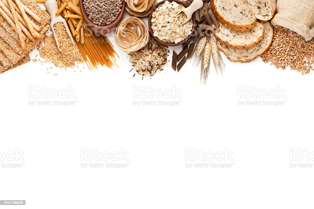 Wholegrain and dietary fiber food border on white background stock photo
