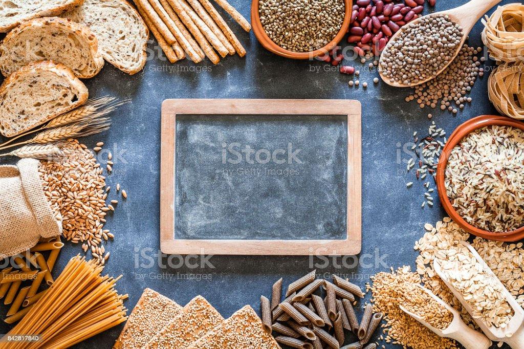 Wholegrain and dietary fiber food border stock photo