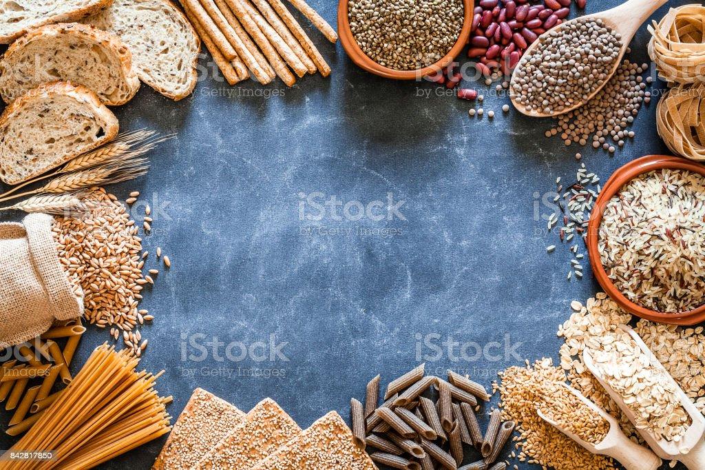 Frontera de alimentos integrales y dietéticos fibra - foto de stock