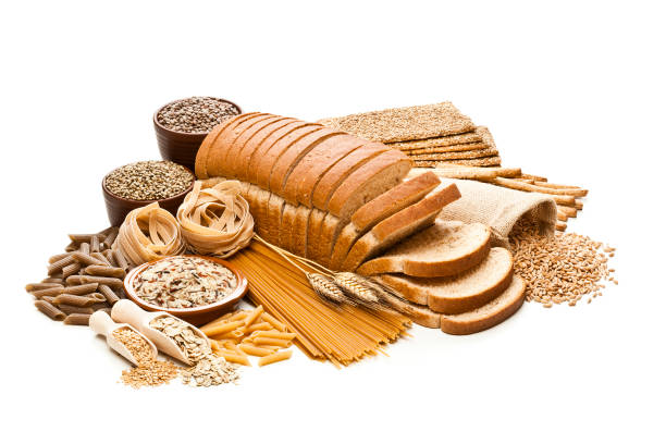 Wholegrain and dietary fiber food on white background stock photo