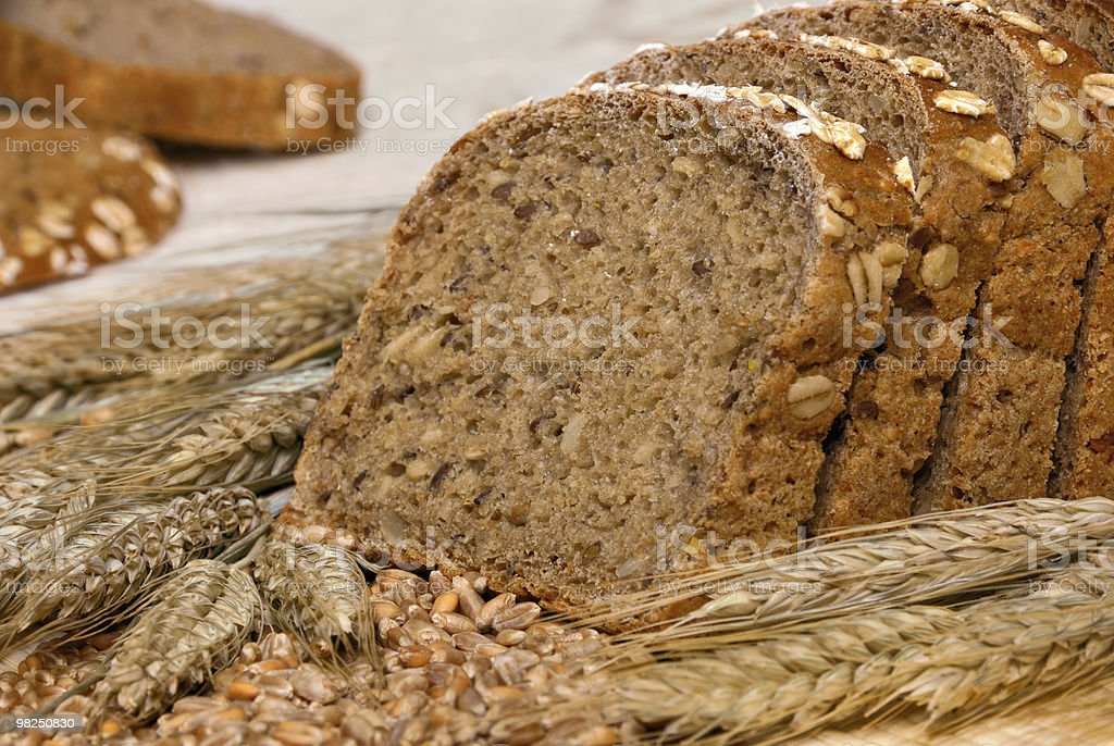 Whole-grain bread and cereals stock photo
