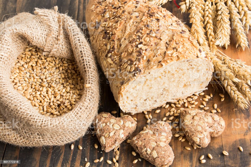 Wholegrain Bread from Whole Wheat, Rye and Flax Seeds stock photo