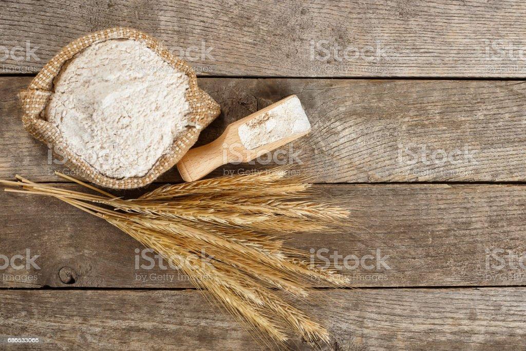 wholegrain flour top view stock photo