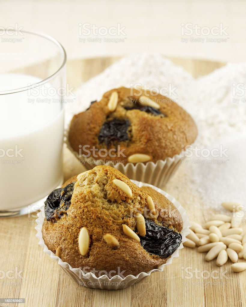 wholegrain muffin with pine nuts and plum royalty-free stock photo
