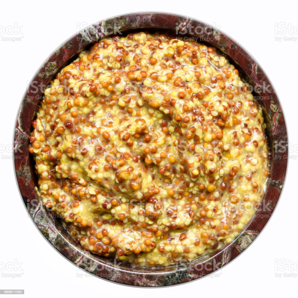 Wholegrain Mustard in Bowl Top View Isolated royalty-free stock photo
