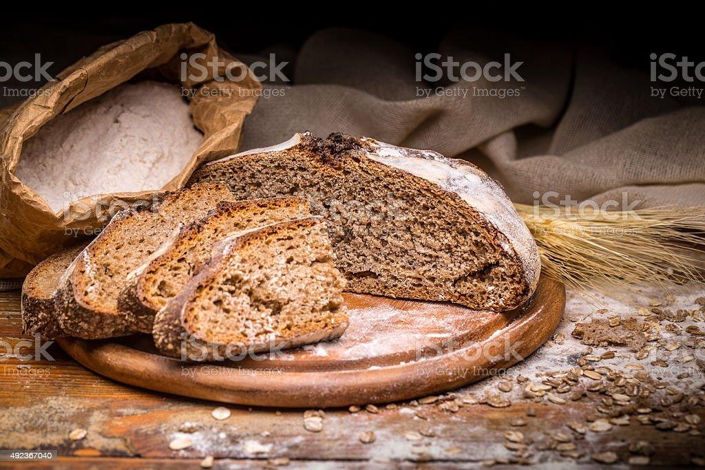 Wholegrain rye bread stock photo