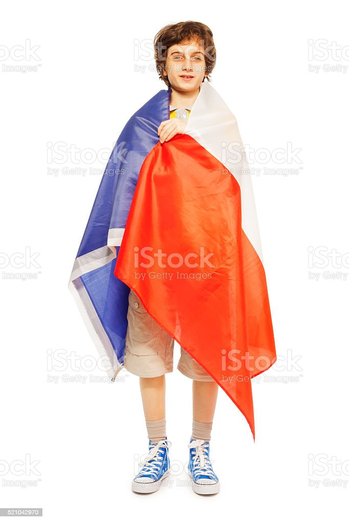 Whole-length boy picture wrapped in flag of France stock photo