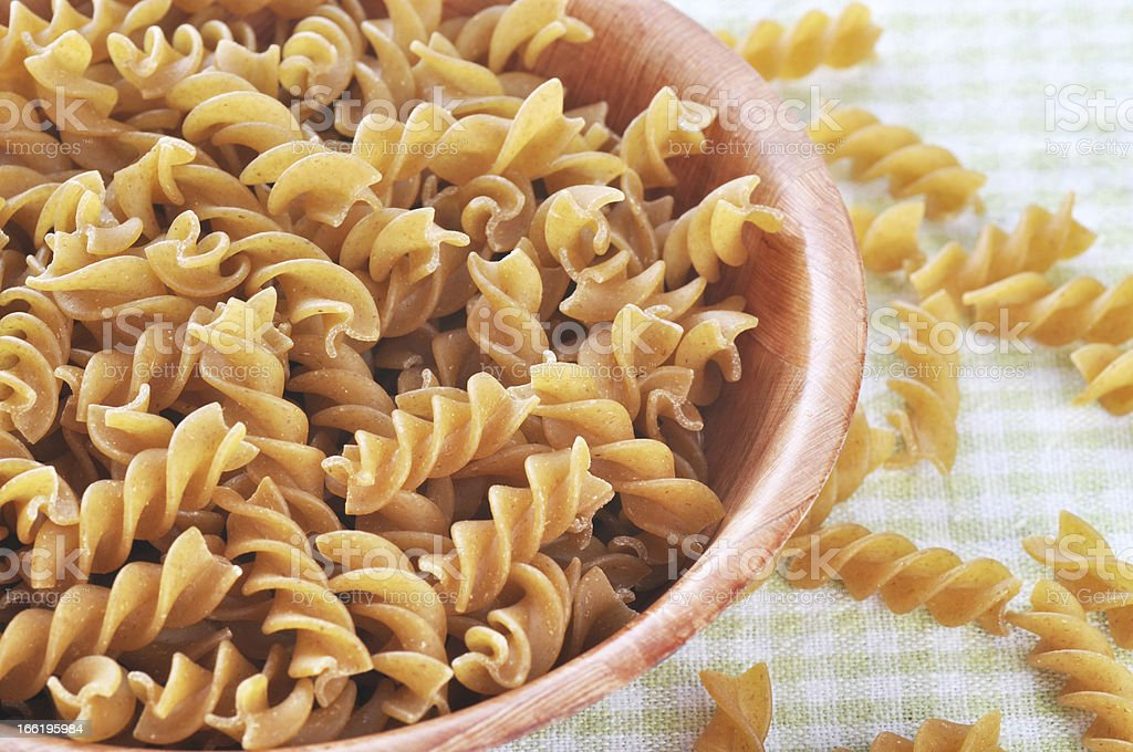 Wholemeal fusilli italian pasta royalty-free stock photo