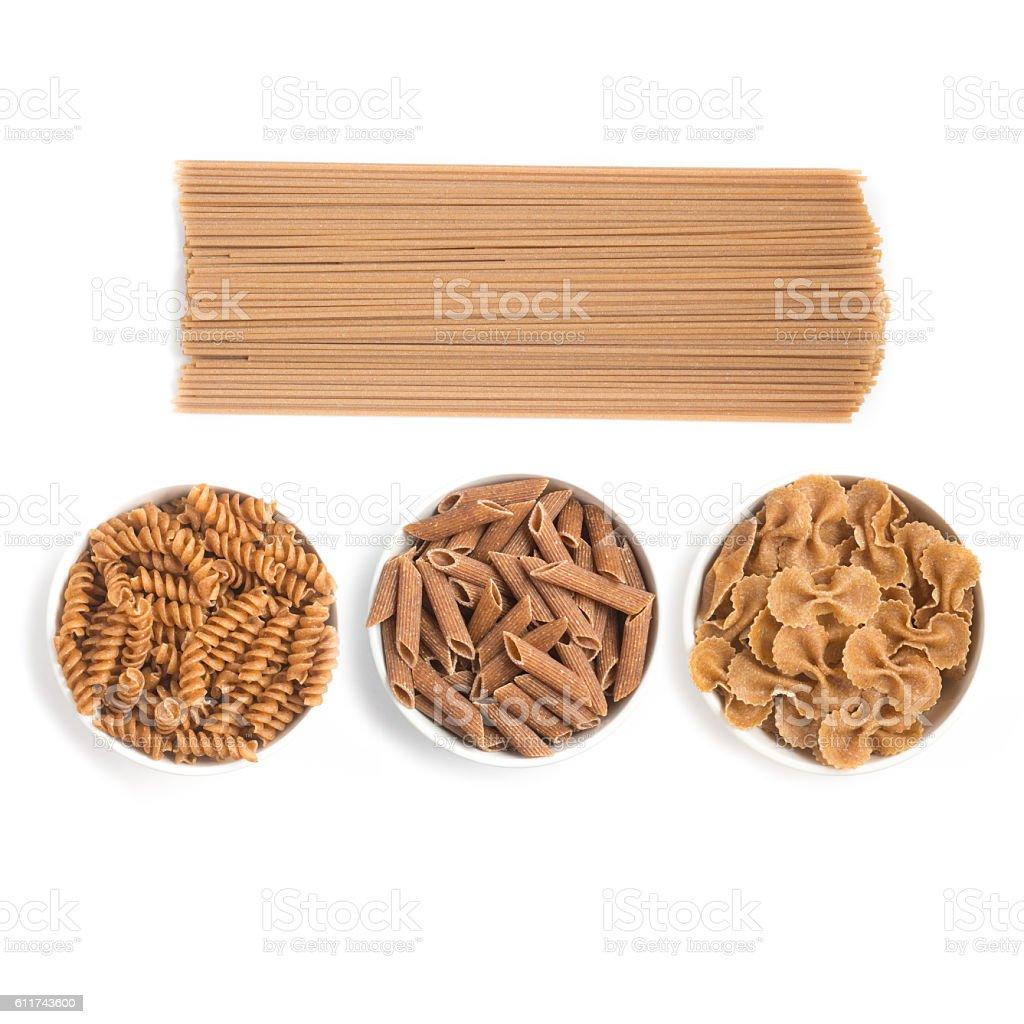 Wholemeal Pasta. Spaghetti, Penne and Fusilli stock photo