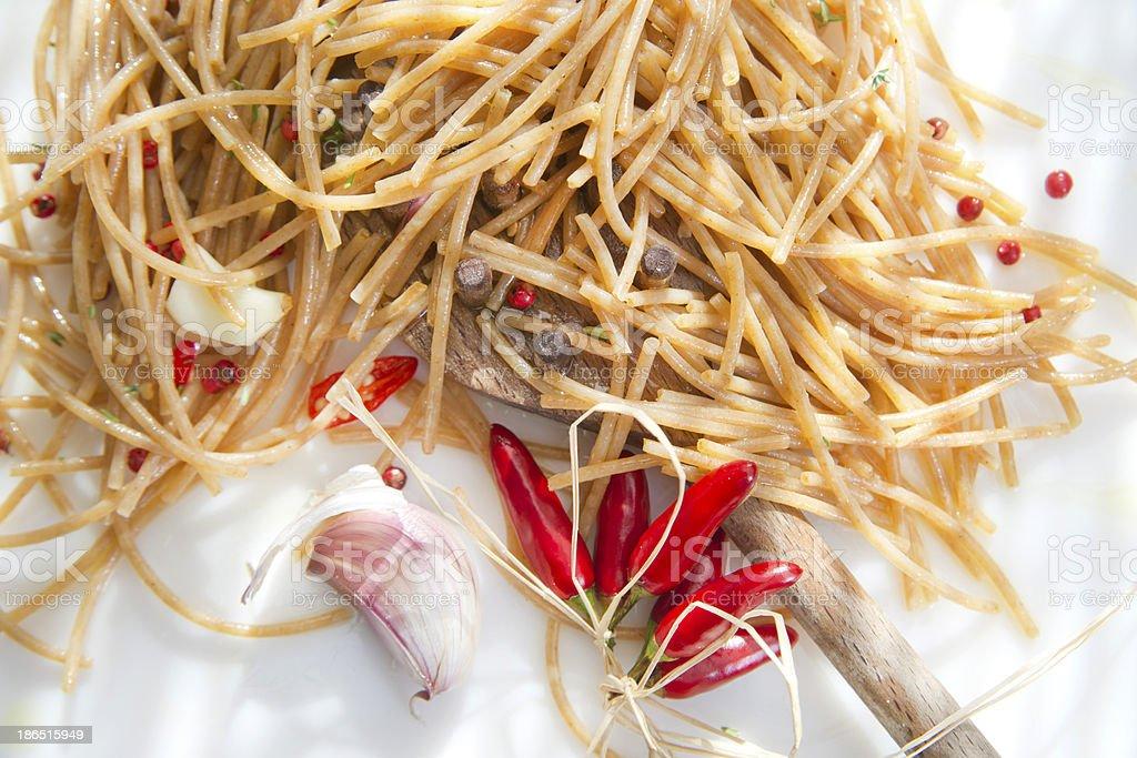 Wholemeal Spaghetti Garlic And Chili Oil royalty-free stock photo
