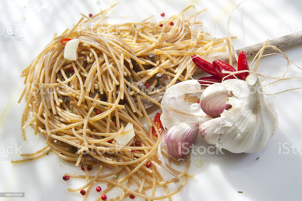 Wholemeal Spaghetti Garlic And Chili Oil royalty-free stock photo