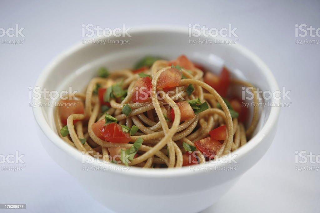 Wholemeal spaghetti stock photo