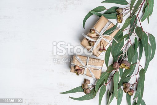 istock Wholesome gifts wrapped in natural paper with twine,silver ribbon and decorated with eucalyptus leaves and gum nuts. 1192861190