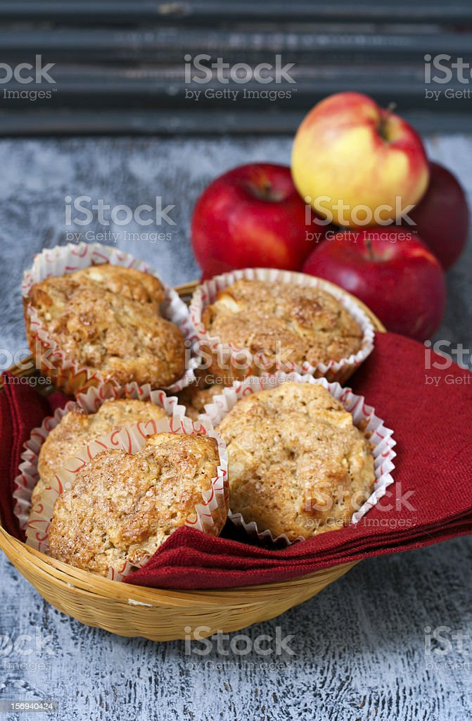 Wholewheat muffins with apples and cinnamon stock photo