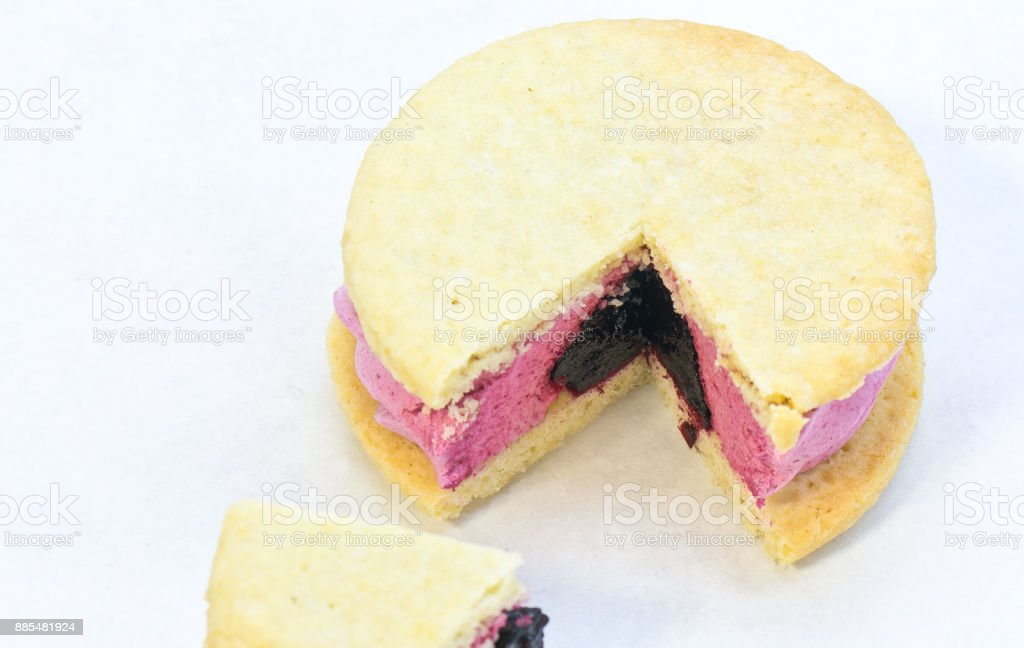 Whoopie pie or sweet sandwich over white background stock photo