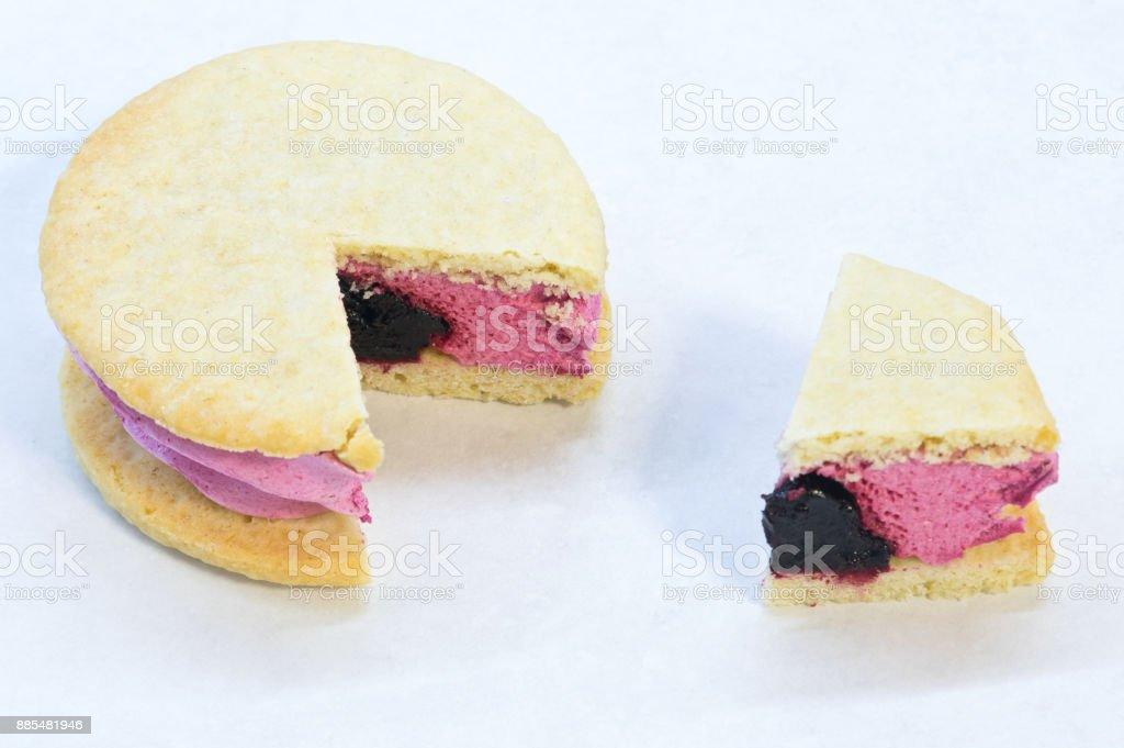 Whoopie pie over white background stock photo