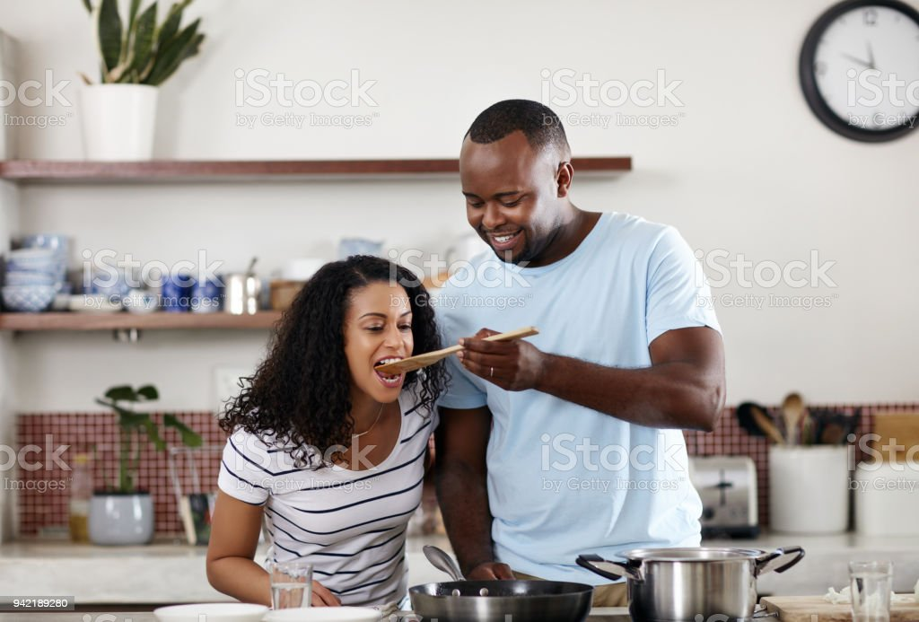 Who's the better cook? stock photo