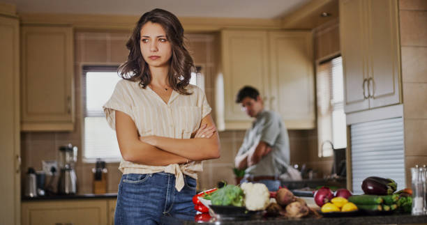 Why should I cook for someone who's always criticizing my food! stock photo
