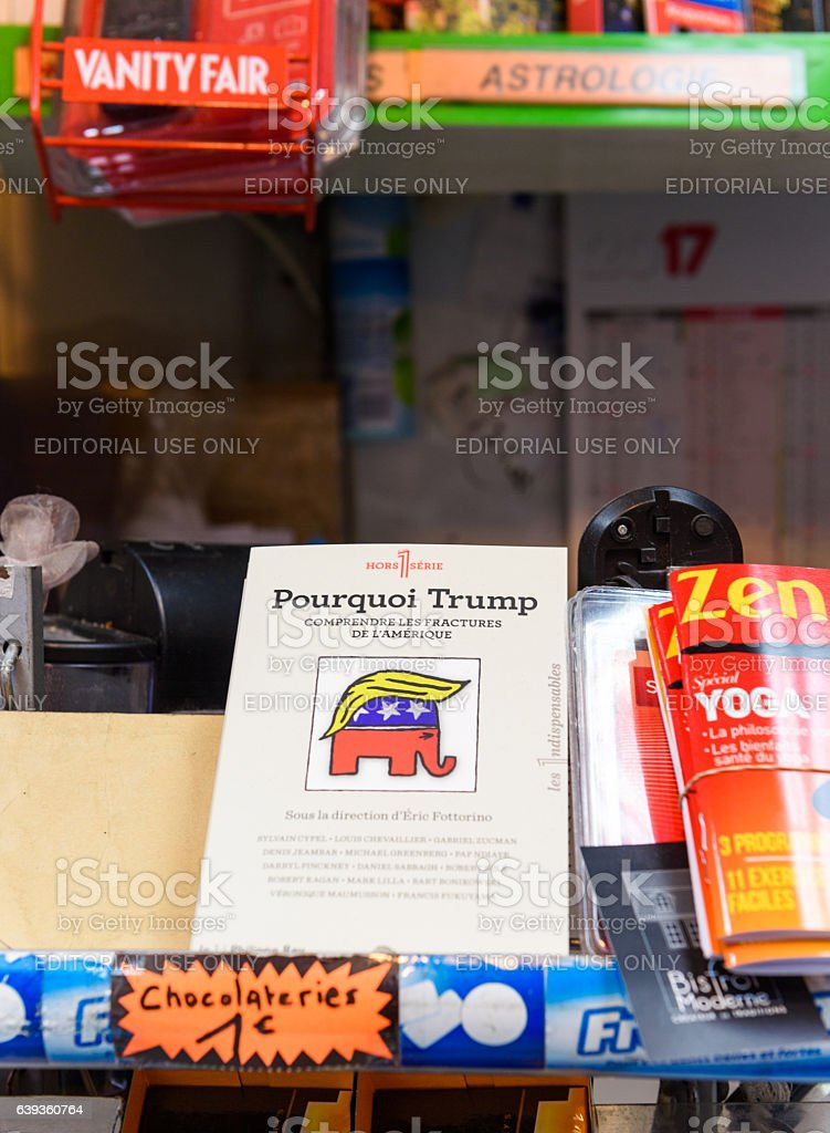 Why Trump book on newstand in French city stock photo