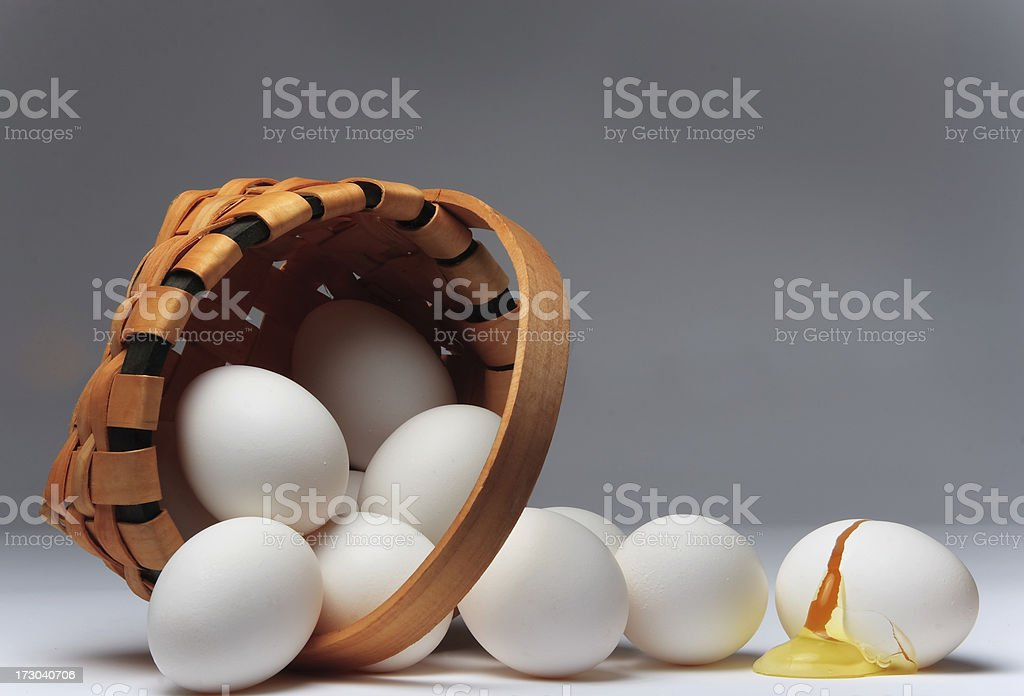 Why you don't put all the eggs in one basket stock photo
