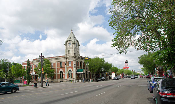 Whyte Avenue and The Old Post Office stock photo