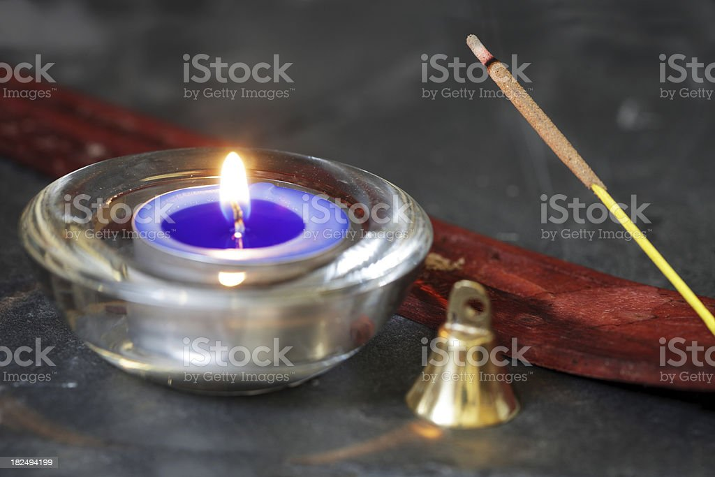 Wicca Altar East or Air Element Items royalty-free stock photo