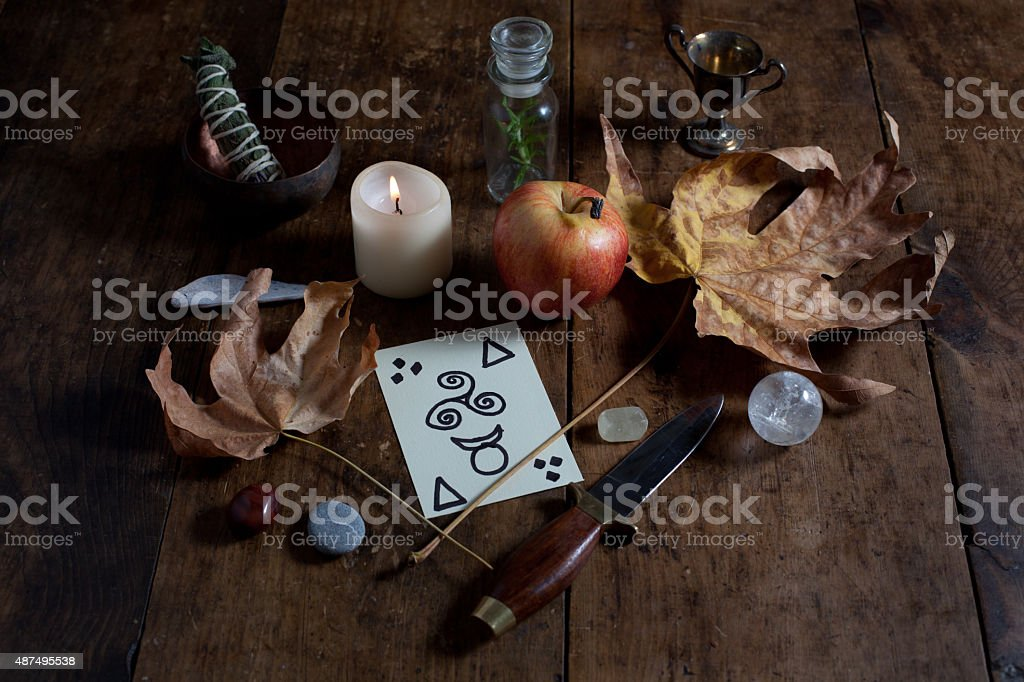 Wiccan Altar for Autumn stock photo