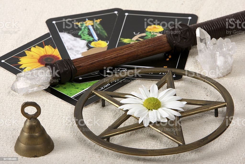 Wiccan Objects And Tarot Cards stock photo