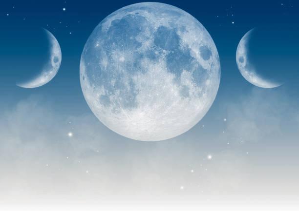 sfondo wiccan - luna piena foto e immagini stock
