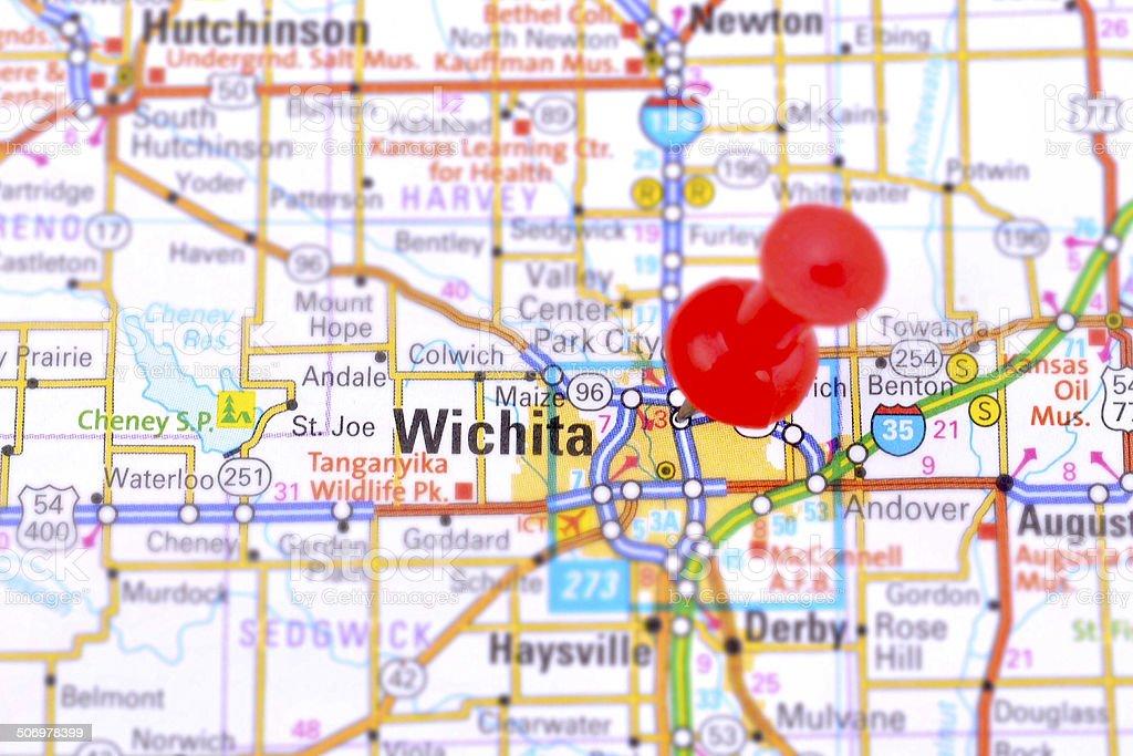 Wichita and Map stock photo