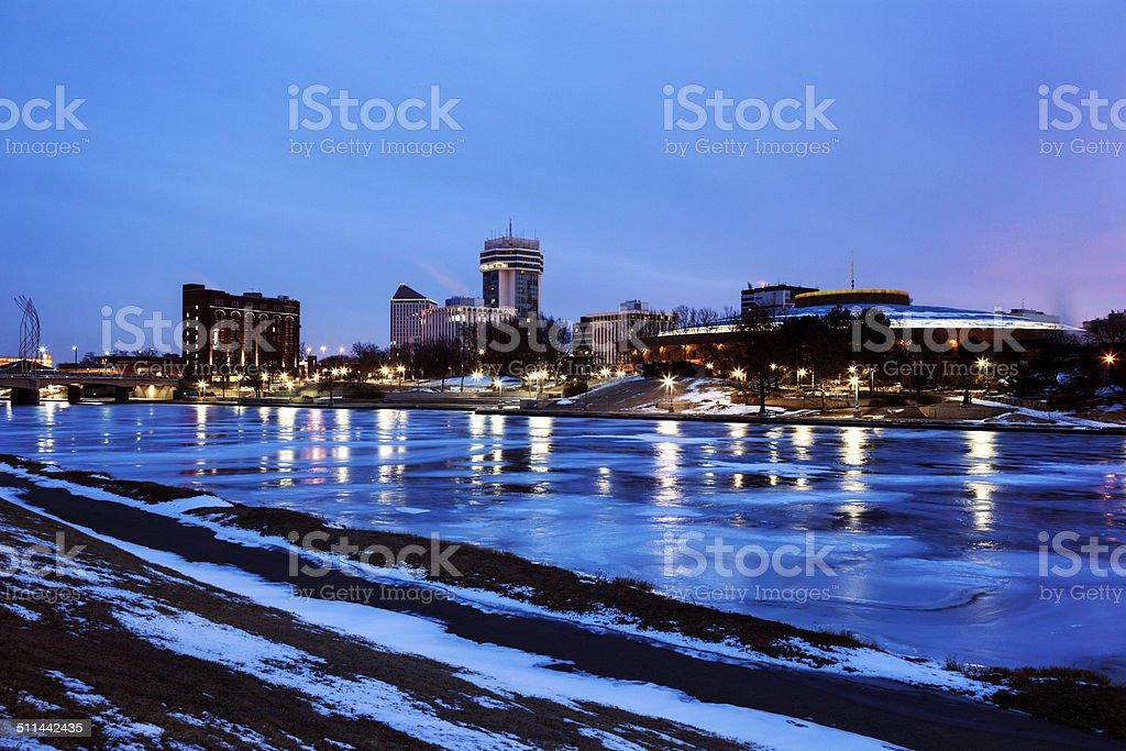 Wichita, Kansas accross the frozen river stock photo