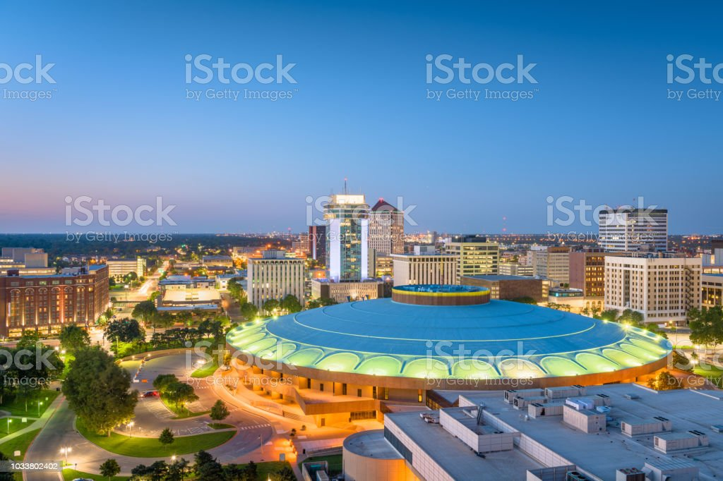 Wichita, Kansas, USA Downtown Skyline stock photo