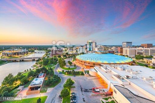 Wichita, Kansas, USA downtown city skyline at dusk.