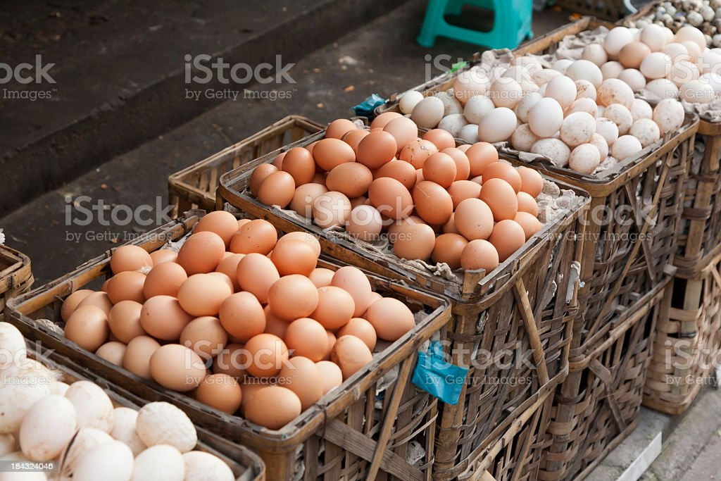 Wicked baskets full of eggs in different Colorado stock photo