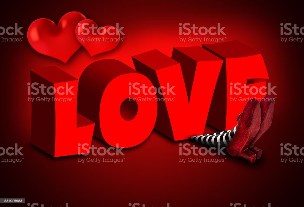 Wicked Witch falling on Love stock photo