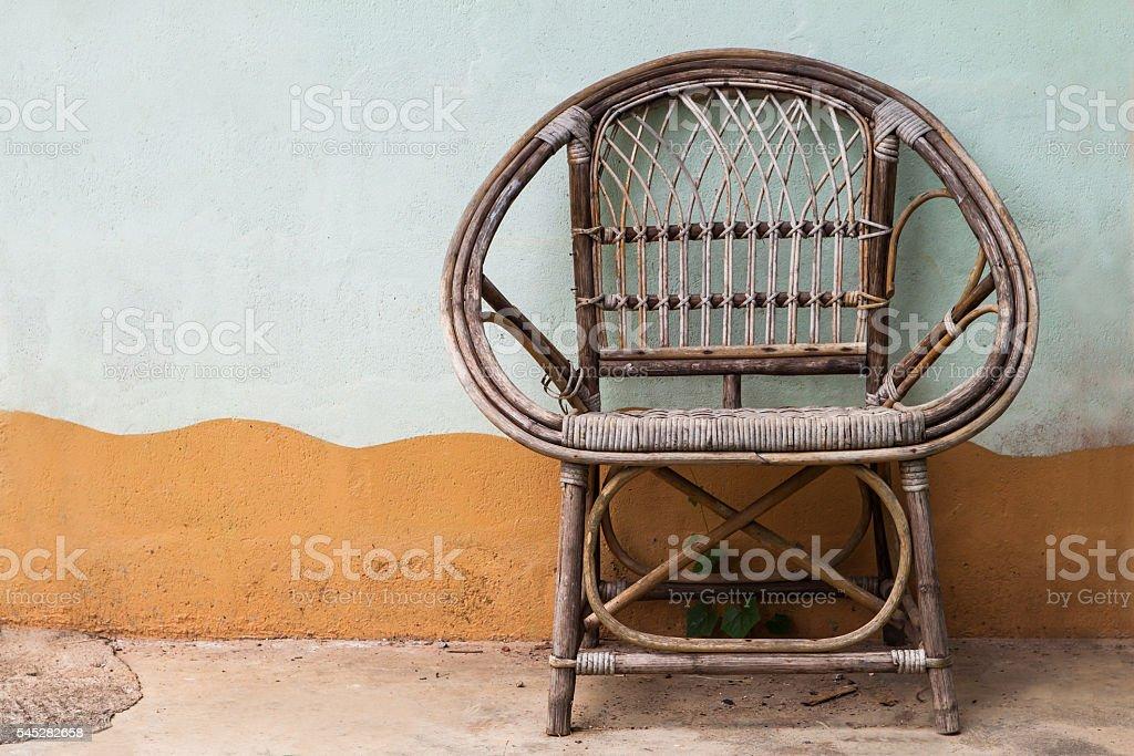 Wicker armchair stock photo