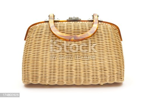 Old woven handbag isolated on a white background.