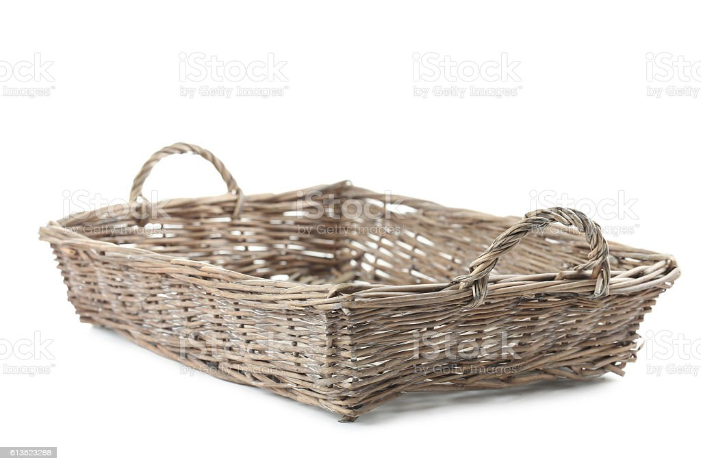 Wicker basket isolated on a white stock photo