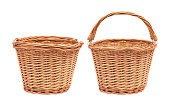 Wicker basket isolated on white background. Picnic container made from wood material.