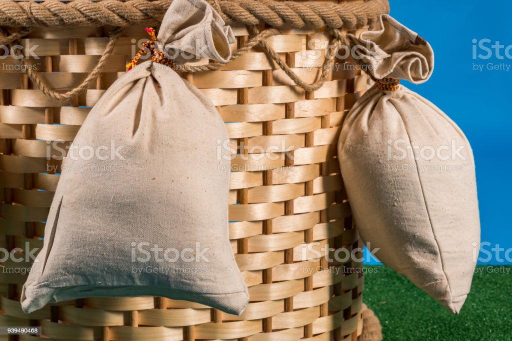 Wicker Basket of Hot-air Balloon with Ballast Bags stock photo