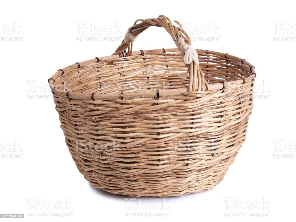 Wicker basket on white royalty-free stock photo