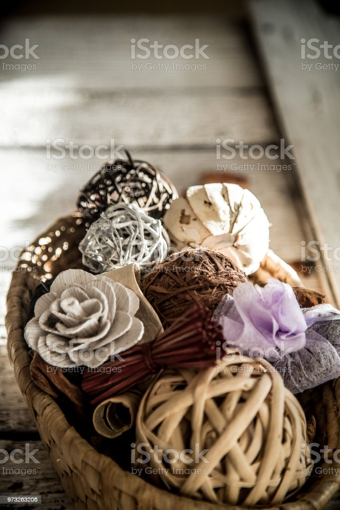 Wicker Basket With Rattan Balls And Wooden Decoration Stock ...