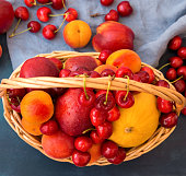 Wicker basket with seasonal summer fruits and berries. Ripe juicy nectarines apricots sweet cherries scattered on blue cotton towel. Vitamins healthy balanced diet