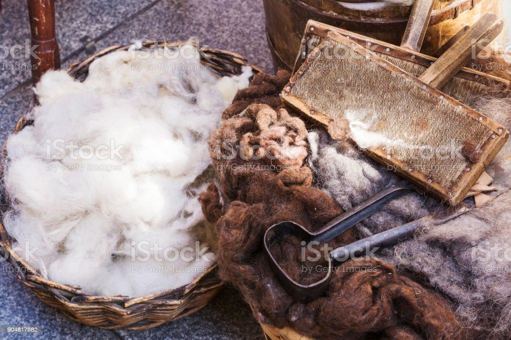 wicker basket with virgin wool stock photo