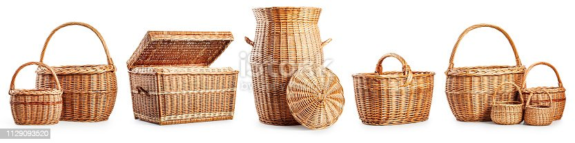 istock Wicker baskets eco packaging set 1129093520