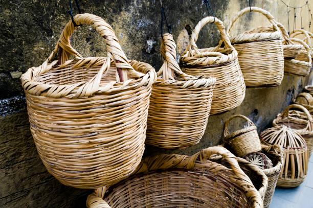 Wicker baskets in local bazaar, Antakya, Turkey stock photo