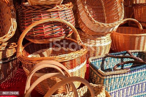 Many Baskets on a market in Munich, Germany